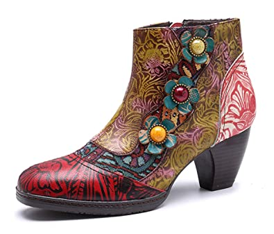 260c4e1eae89 Amazon.com | Honeystore Women's Retro Flower Carving Pattern Zipper Heels  Shoes Chunky Short Boots Leather Booties Round Toe | Ankle & Bootie