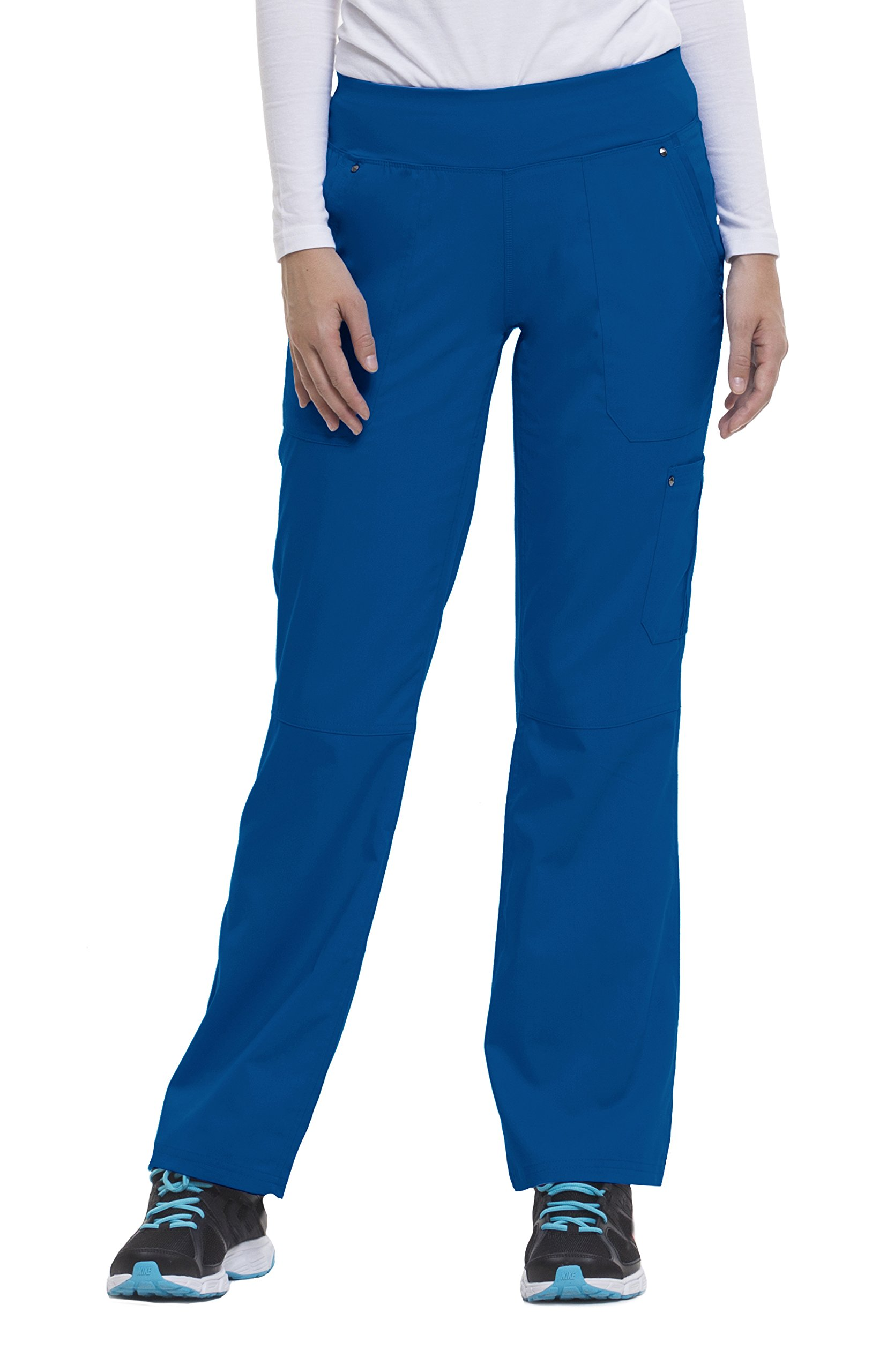Purple Label Yoga Women's Tori 9133 5 Pocket Knit Waist Pant by Healing Hands Scrubs- Royal Blue- Large