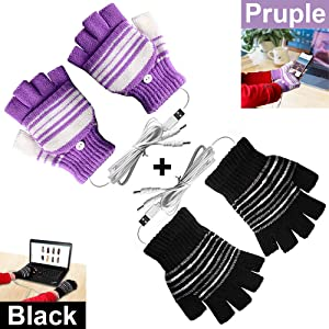 [2 Pack] USB Heated Gloves for Men and Women Mitten, USB 2.0 Powered Stripes Heating Pattern Knitting Wool Heated Gloves Hands Warmer Laptop Gloves Fingerless Washable Design Gift (Black + Purple)