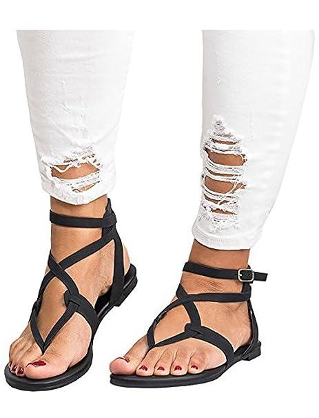 267417c840d0 Amazon.com  Poucw Women s Flat Sandals Ankle Strap Buckle Flip Flop  Gladiator Thong Roman Flat Shoes  Clothing