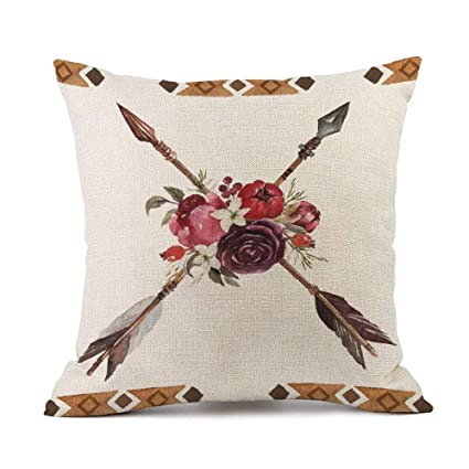 Tcoome Bohemian Pillows Decorative Pillow Covers Boho Arrows and Flowers  Native American Tribe Throw Pillow Cases aa2eccf10