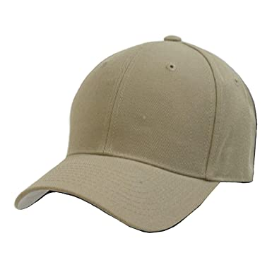 plain solid fitted baseball cap khaki tan size caps uk ebay for big heads amazon