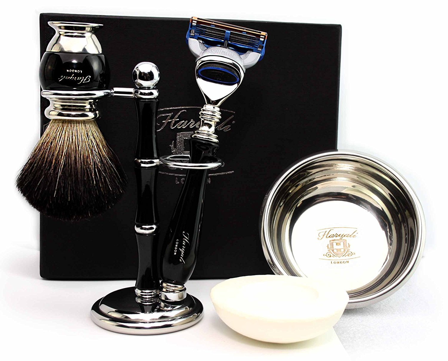 100% Hand Made Shaving Set for Men's.Ideal Gift This Christmas.Set Includes Pure Black Badger Hair Brush, 3 Razors To Choose,Shaving Bowl with Soap and Brush Holder. (Gillette Fusion Razor)