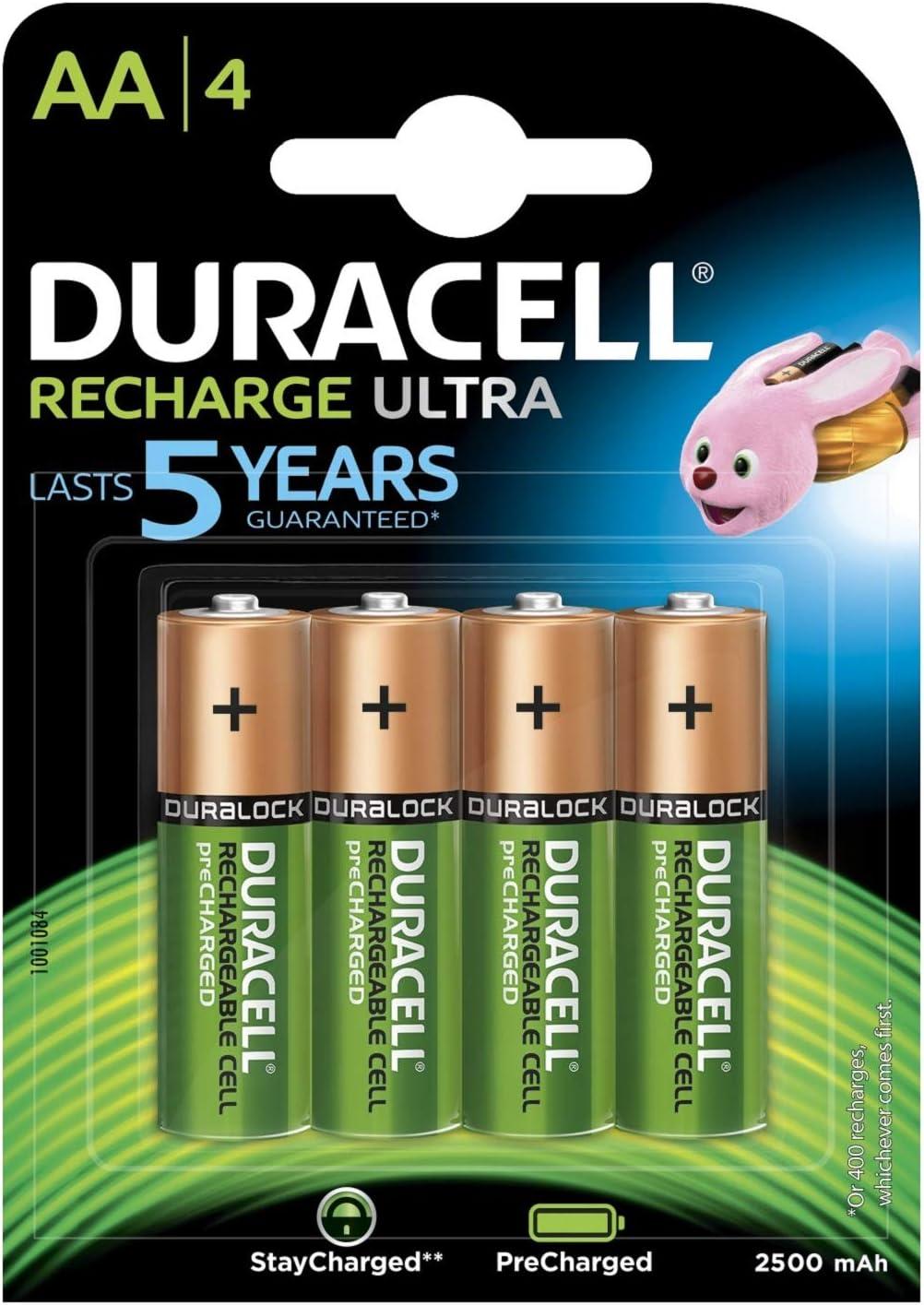 Paquete de Pilas AA Duracell - Ultra Pilas Recargables AA 2500 mAh, paquete de 4.