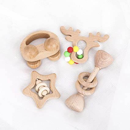 Cute Baby Wooden Rattle Bracelet Newborn Hand Bell Rattle Montessori Teether Toy