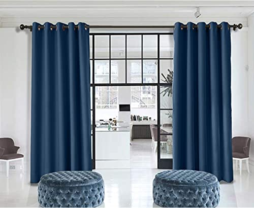 Macochico Extra Wide Room Divider Curtains Navy Thermal Insulated Home Decorations Blackout Privacy Curtains