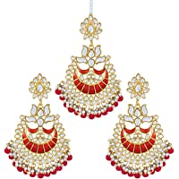Aheli Indian Ethnic Faux Kundan Beaded Red Enamel Maang Tikka Earrings Set Wedding Fashion Jewelry for Women