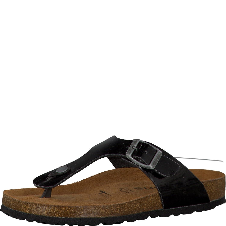 Tamaris 1-1-27104-30 Damen Zehentrenner, Sandale, Sandalette, Pantolette, Sommerschuhe fuuml;r Die Modebewusste Frau  38 EU Black Patent