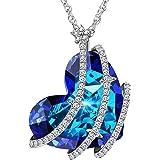 ATMOKO Kette Damen Halskette mit Kristallen von SWAROVSKI® Steinen Herz Blau Halskette mit Herz Anhänger Muttertagsgeschenk Geburtstagsgeschenke Weihnachtsgeschenke Valentinstag Geschenk
