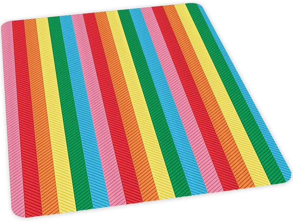 """Hard Floor Chair Mat, Rainbow Colored Shades Straight Band Stripes Trendy Vibrant Tones Artistic Design, 35"""" x 47"""" Office Chair mat for Carpet"""