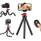 Phone Tripod, Flexible iPhone Tripod and Portable Adjustable Tripod with Wireless Remote, Mini Travel Tabletop Tripod Camera