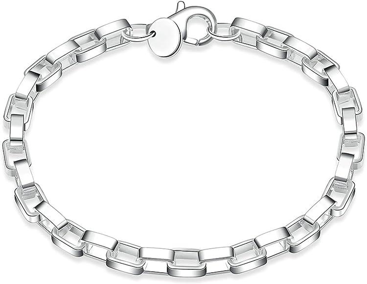 Aokarry Link Bracelet,Wedding Bracelet Bangle Copper Heart Silver Length 8 in