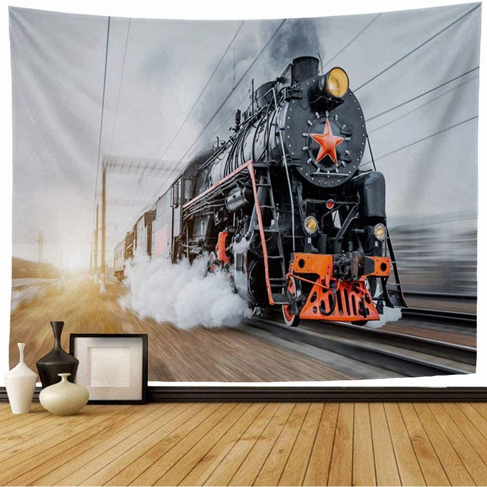 Starogs Tapestry Carriage Vintage Sky Black Steam Locomotive Train Rush Technology Classic Old Railway Retro 30S Wall Tapestry Wall Decor Blanket for Bedroom Home Dorm 80x60 Inch