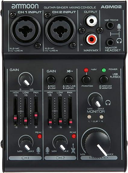 ammoon Consola de Mezclado Mezclador de Audio Digital Mini 2 ...