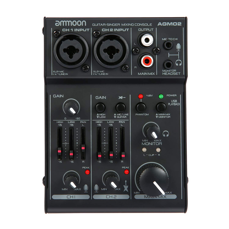 ammoon Consola de Mezclado Mezclador de Audio Digital Mini 2 Canales Tarjeta de Sonido Ecualizador de 2 Bandas Incorporado 48V Phantom Poder 5V Alimentado ...