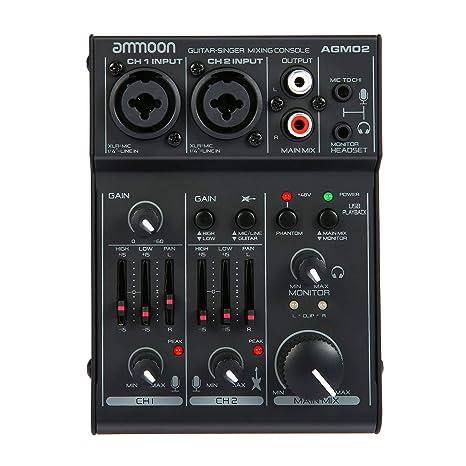 ammoon Consola de Mezclado Mezclador de Audio Digital Mini 2 Canales Tarjeta de Sonido Ecualizador de