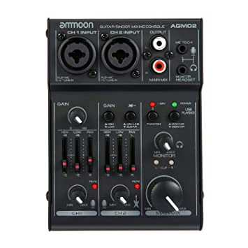 ammoon Consola de Mezclado Mezclador de Audio Digital Mini 2 Canales Tarjeta de Sonido Ecualizador de 2 Bandas Incorporado 48V Phantom Poder 5V ...
