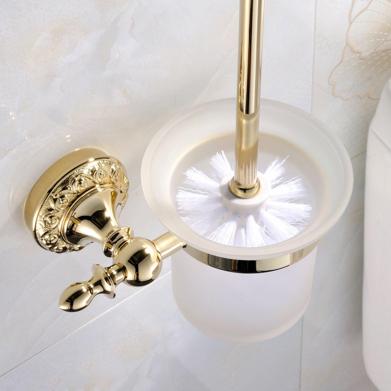 weare Home pared montaje baño accesorios Modern Ti–PVD Acabado Latón Material Color Oro–Escobillero de WC y–Escobilla de baño habitaciones Accessories