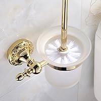 Weare Home Sculpté Porte Balai avec verre poli de Toilette Set Toilettes Accessoires WC Design Or Fixation Murale Finition Ti-PVD Laiton Style Européen
