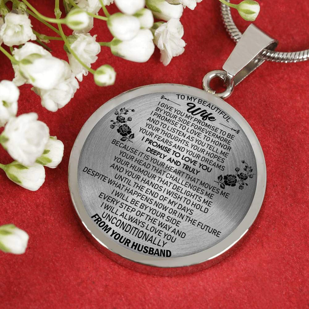 I Give Me My Promise Jewelry Birthday Gag Gifts for Your Love ThisYear to My Beautiful Wife Pendant Necklace Custom from Husband Fiancee