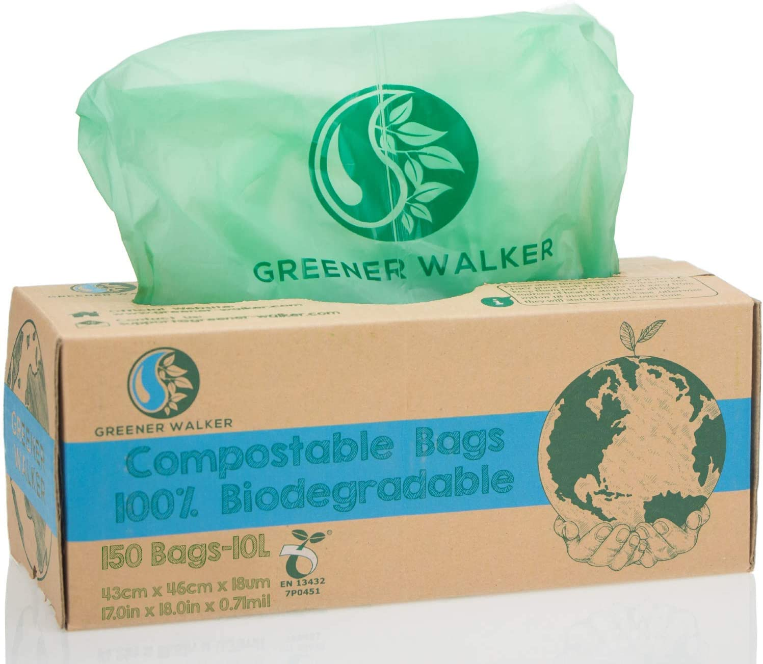 Greener Walker 100% compostable Biodegradable 10L Bolsa Basura ...