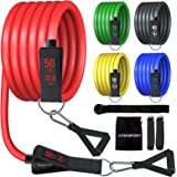 Resistance Bands Set with Handle, Men and Women Home Exercise Bands(11pcs),Stackable up to 150lbs for Legs, arms…