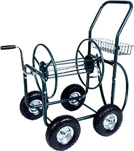 Dporticus Garden Hose Reel Cart 4 Wheels with Storage Basket Water Hose Holder,Holds 390FT Hose