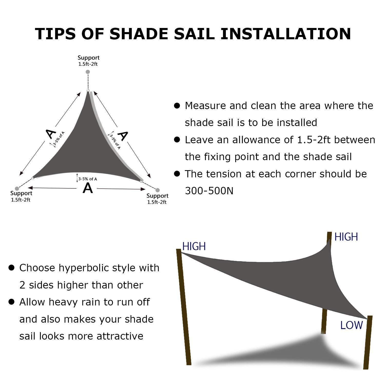 Shade&Beyond Sun Shade Sail Triangle 20'x20'x20' UV Block for Yard Patio Lawn Garden Deck Light Grey by Shade&Beyond (Image #6)