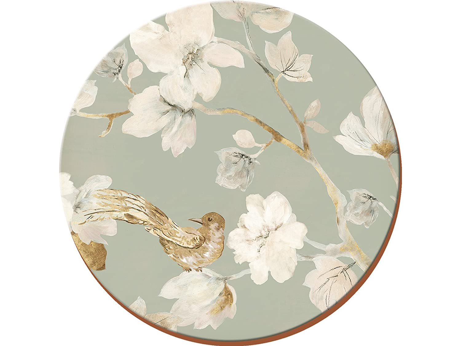 Duck Egg Floral 4-Piece Set of Premium Cork-Backed Round Placemats by Creative Tops, 29 cm (11½
