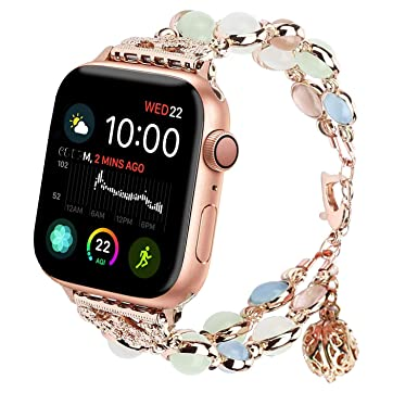 AUSXINX Pulsera para Apple Watch Band, Elegante Pulsera de Acero Inoxidable Hecha a Mano Luminosa