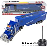 """2.4Ghz RC Blue Semi Truck with Trailer, Toy Electric Mega Big Rig Car (22"""" Long) with Lights and Go Forward & Backward, Turn Left & Right (4 Channel)"""