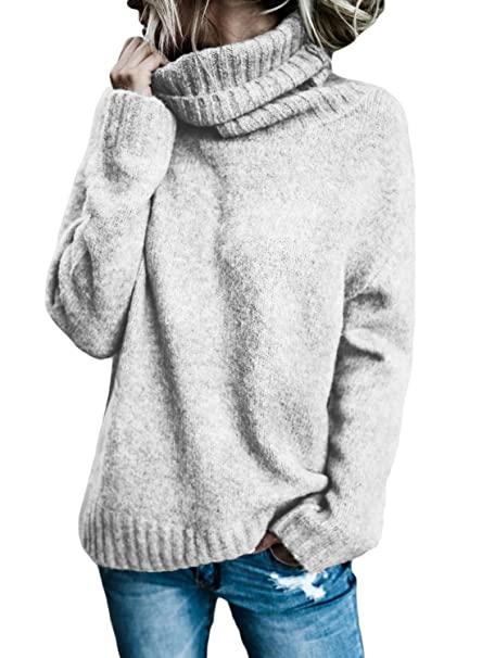 Aleumdr Mujer Suéter de Cuello Alto Jersey de Punto de Invierno Jerséis Casual para Mujer Size S-XL: Amazon.es: Ropa y accesorios