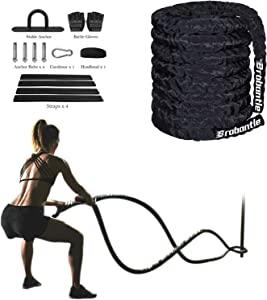 Jump Rope Battle Rope for Home Gym Workout Rope weighted ropes for working out Exercise Ropes Heavy Ropes for Exercise Training 30FT Battle Ropes