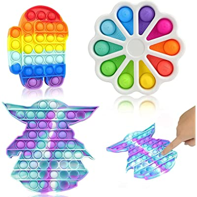 Tie-dye Pop it Fidget Toys Zeaoda 3-Pack Push Pop Bubble Sensory Fidget Toys Stress Relieve and Anti Anxiety Silicone Squeeze Sensory Toys for Autism Special Needs Kids and Adults