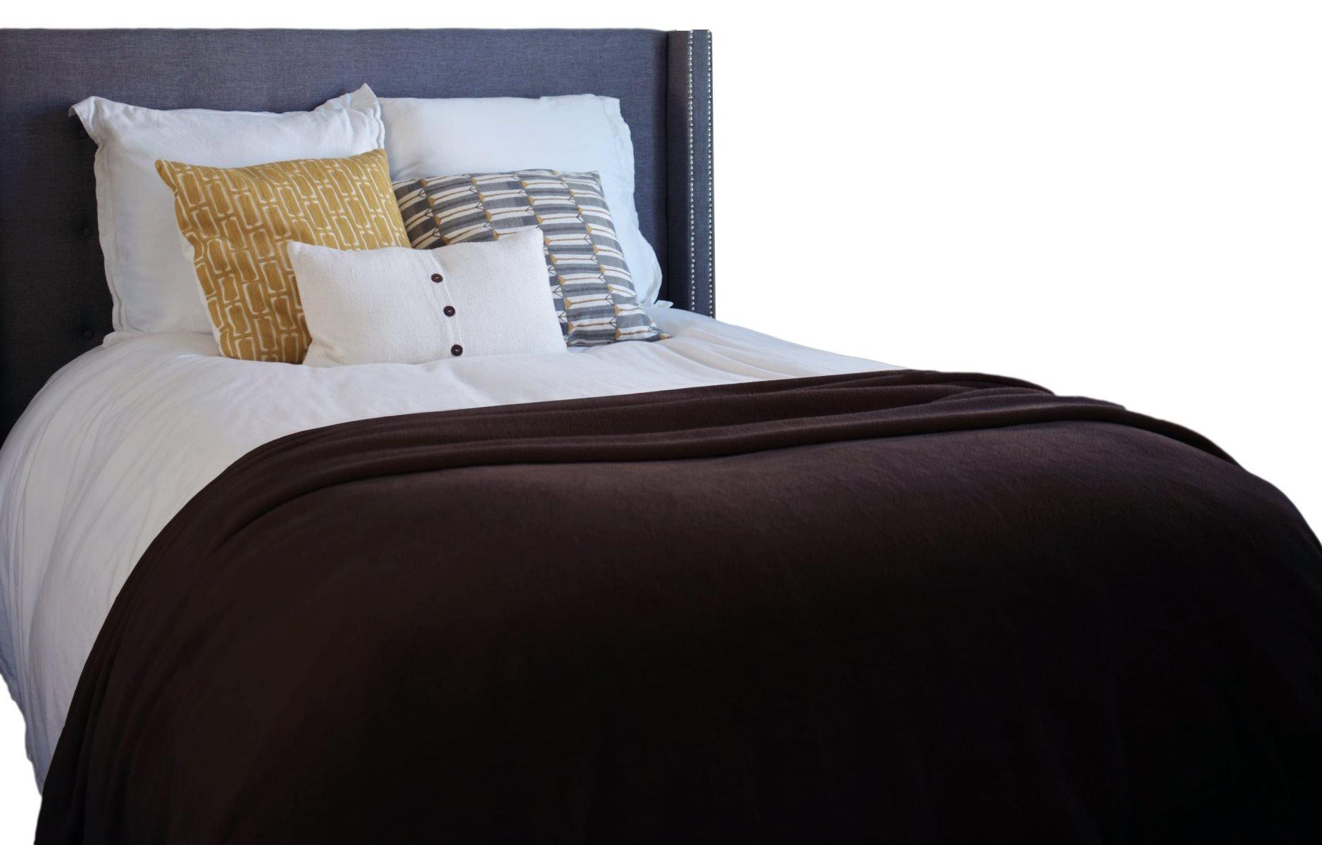 Napa Super Soft Plush Bed Blanket Brown Queen Size All Season Velvet Throw Blankets, Lightweight and Easy Care Couch Blanket Fleece Blanket, 90\