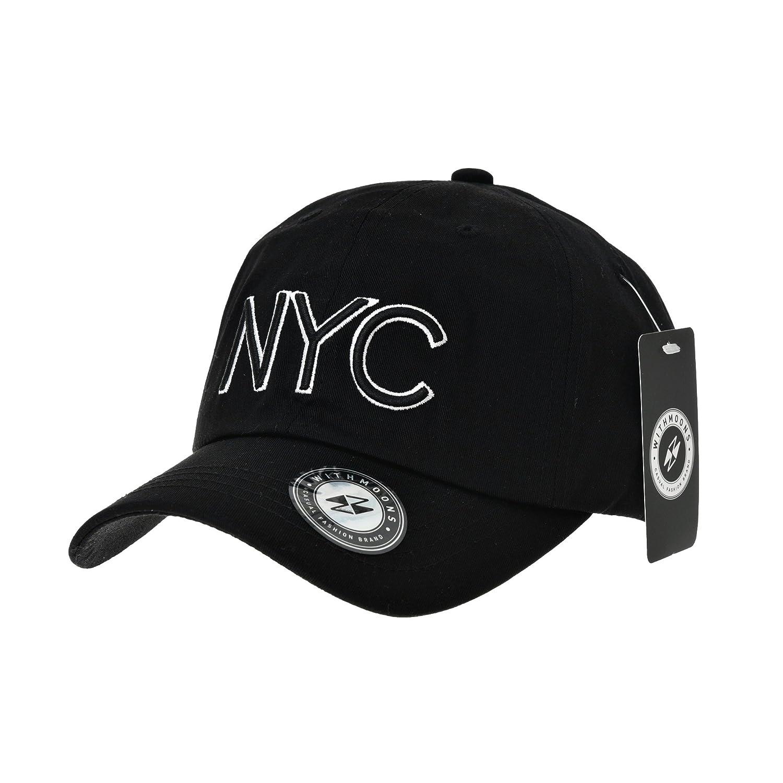 3d208c5fe WITHMOONS Gorras de béisbol gorra de Trucker sombrero de Baseball Cap NYC  Lettering Simple Plain Ball