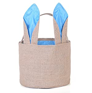 Easter Egg Basket for Kids Bunny Burlap Bag to Carry Eggs Candy and Gifts (Blue)