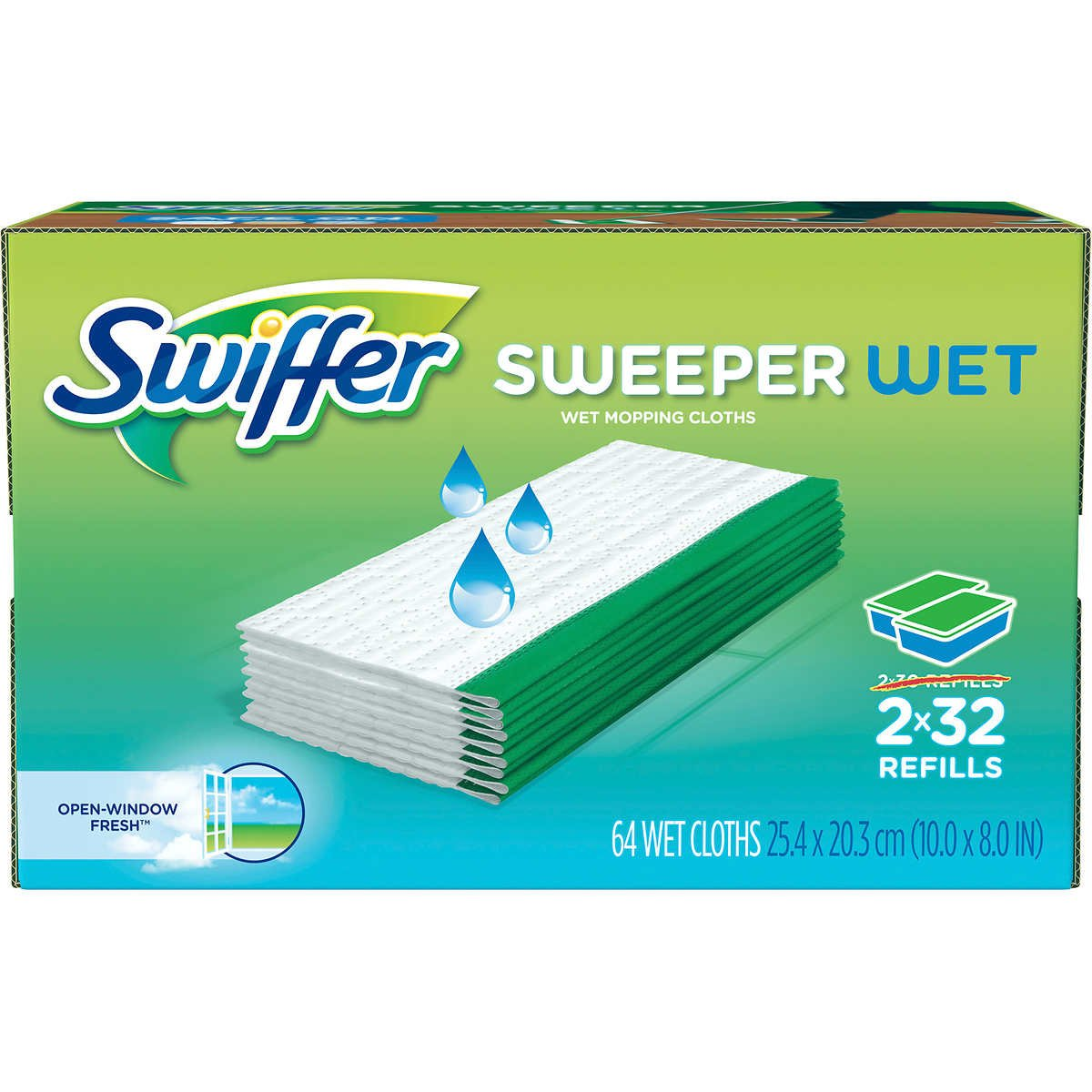 Swiffer Sweeper Wet Mopping Cloth Refill - Open Window Fresh - 32 wet cloths - 2 pk