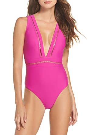 5528d0db29 Amazon.com: Ted Baker London Plunge One Piece Swimsuit (2, Pink ...