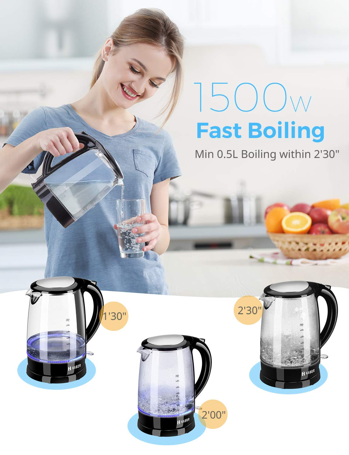 Habor Electric kettle, Water Boiler 1500W Fast Heating Tea Pot, 1.8 Quart (1.7 L) Blue LED Lights Bright Glass Body, Auto Shut-Off Boil-Dry Protection Stainless Steel Inner Lip by Habor (Image #2)