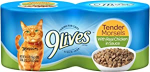 9Lives Tender Morsels With Real Chicken In Sauce Wet Cat Food, 4/5.5Oz Cans (Pack Of 6)
