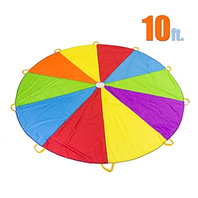 10 Foot Play Parachute with 10 Handles - Multicolored Parachute for Kids: Toys & Games