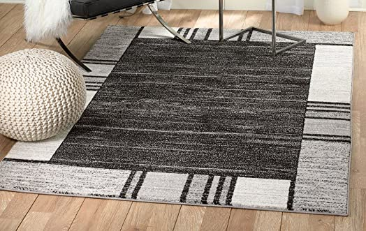 Rio Summit 309 Grey Black White Area Rug Modern Abstract Many Sizes Available 3 .6 x 5 , 3 .6 x 5