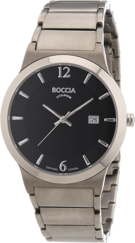 Boccia 3565-02 - Reloj analógico de Cuarzo para Hombre con Correa de Titanio, Color Plateado
