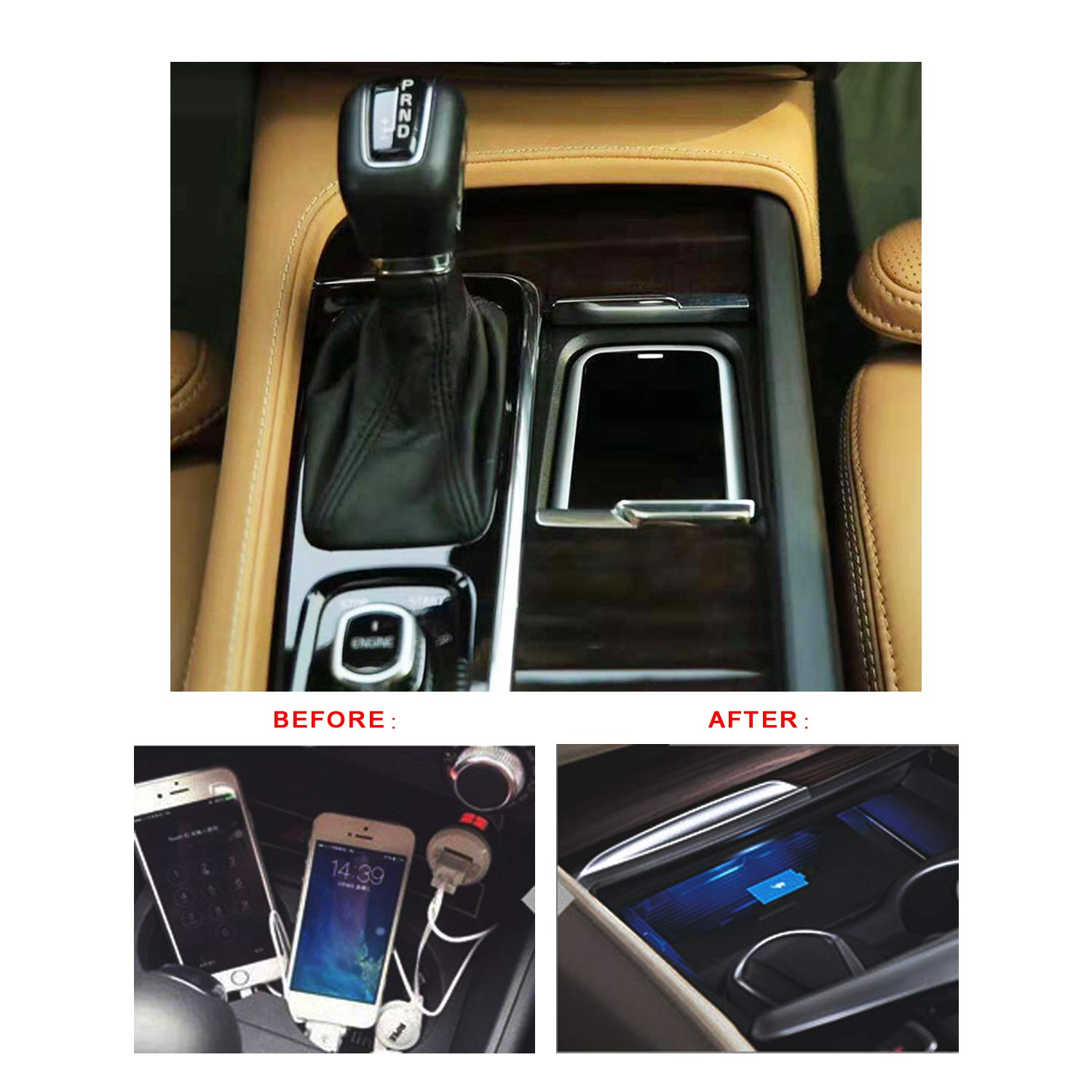 YEE PIN Volvo Wireless Charger S90 //XC90//XC60//V90 Special Modified New Car Wireless Quick Charge