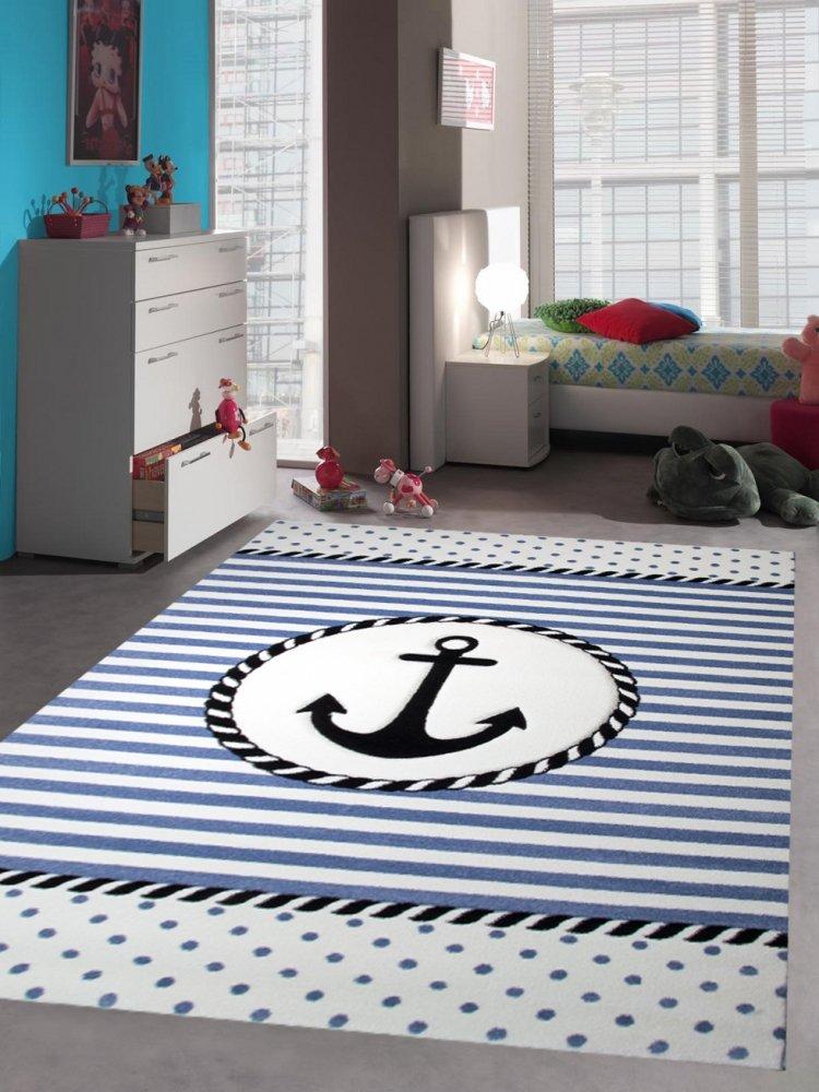 Kinderteppich Maritim Kinderzimmerteppich Jungen Teppich mit Anker in Blau Creme Größe 80x150 cm Traum