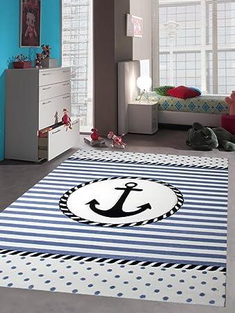 Kinderteppich Maritim Kinderzimmerteppich Jungen Teppich mit Anker in Blau  Creme Größe 120 cm Rund