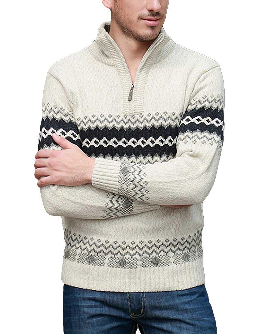 Nidicus Mens Half Zipper High Collar Wave Printed Wool Blend Knit Sweater Apricot M