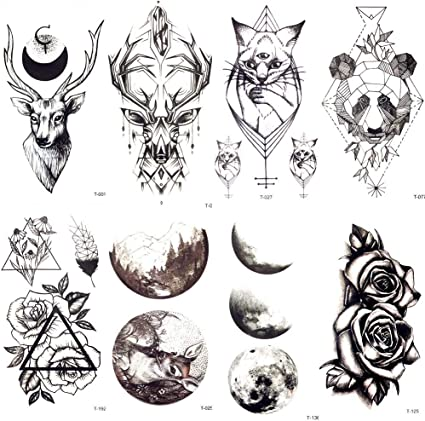 Tatuaje Falso Tatuaje Geométrico Negro Moose Deer Cats Tatuaje ...