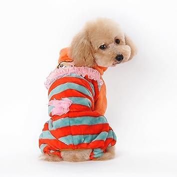 Pet Online Ropa de perro coral cachemir doble rayas traje ...